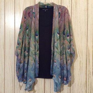 Sara Michelle Shirt 2X Peacock Feather Print.